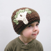 Dark Brown Chunky Crochet Toddler Beanie Hat with Tree Applique, children 3-4  years, ready to ship.