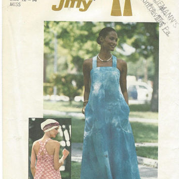 1970s Simplicity Pattern 7545 Womens Jiffy Pullover Sundress Size 12 14 Bust 34 36 Maxi Length Dress