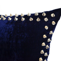 Designer Decorative Throw Pillows With Studs On Navy Velvet Pillow Cover For Chic Modern Avant Garde Home Decor