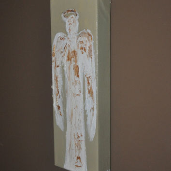 Acrylic Canvas Painting Angels 4x12 Original Angel by dlynnart