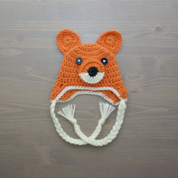 Crochet Fox Hat, Crochet Baby Hat, Newborn Photo Prop, Crocheted Baby Hat, Baby Shower Gift, Baby Fox Hat, Crochet Animal Hat, Hat with Ears