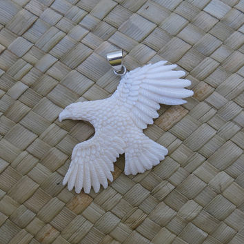 Flying Eagle Pendant - Bone Carving  handmade in Bali