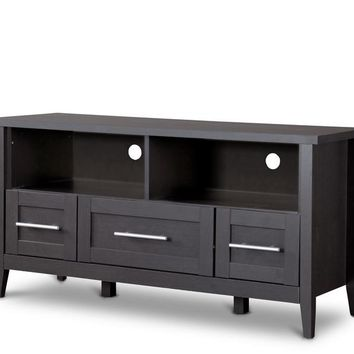 Baxton Studio Espresso TV Stand—Three Drawers Set of 1