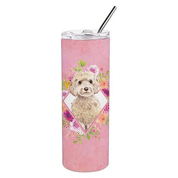 Champagne Cockapoo Pink Flowers Double Walled Stainless Steel 20 oz Skinny Tumbler CK4246TBL20