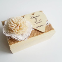 Cream ecru rustic wedding rings box with heart box writing sola rose burlap vintage wedding cream custom lace