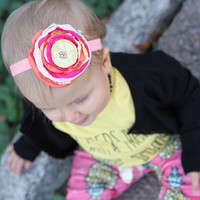 Baby Flower Headband - Pink, Yellow, Orange with Gold Beads, Baby shower gift, Holiday Headband, Baby Photo Prop, Baby Hair Accessory