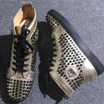 DCCK Cl Christian Louboutin Louis Spikes Style #1893 Sneakers Fashion Shoes