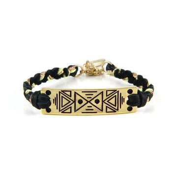 Gold Tribal Triangle Bar with Black Leather and Gold-Lime Trim Bracelet