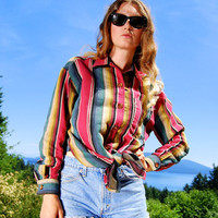 90s Southwestern Tie Waist Blouse Crop Top Small Medium, Striped Navajo Western Shirt Red Blue Green Yellow Stripes Long Sleeve Button Front