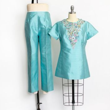 Vintage 1960s Ensemble - Blue silk + Wool Embellished Silver Pants + Tunic Top Set 60s - Large