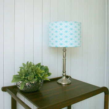 Blue Geometic Fabric Lampshade Fabric Covered Light Shade Drum for Table Lamp or Floor Lamp available in matching pair
