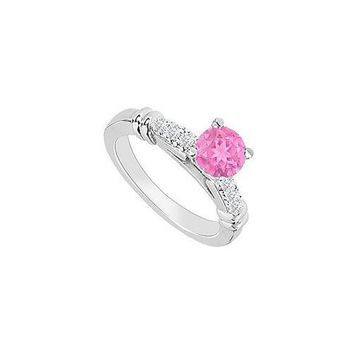 14K White Gold : Pink Sapphire and Diamond Engagement Ring 0.60 CT TGW