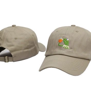 Kermit The Frog Drinking Iced Tea Meme Beige Dad Hat