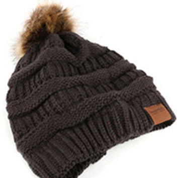 Gray Pom Pom Winter Hat