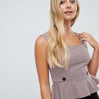 Miss Selfridge pinafore top in check at asos.com