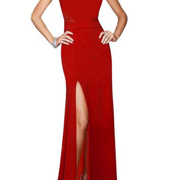 Red Lace-Paneled Side Slit Maxi Dress