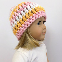 18 Inch Doll Hat, Striped Doll Beanie, Doll Accessories