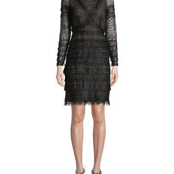 J. Mendel Long-Sleeve Metallic Lace Cocktail Dress