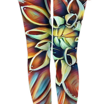 Dahlia flower leggings, colorful abstract floral pattern girls apparel, stylish design