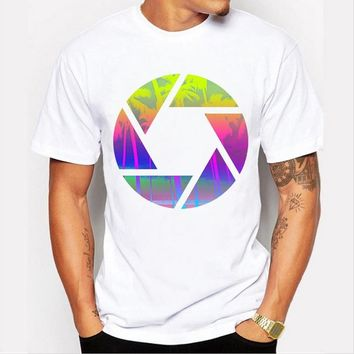 Summer men 's new shirt personality simple and simple digital printing casual short - sleeved white round neck T - shirt