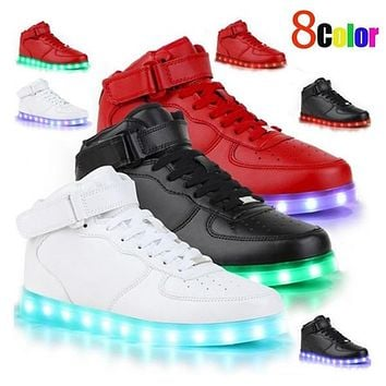 8 Colours USB charging led luminous shoes men women Leather Waterproof shoes luminous glowing sneakers light up sneakers Men shoes for adult