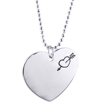 Silver ARROW HEART Ball Chain Necklace
