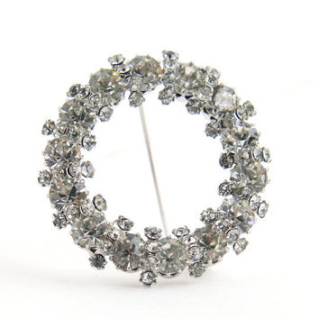 Vintage Clear Rhinestone Wreath Brooch - 1950s Silver Tone Costume Jewelry Pin / Round Prong Set Glass