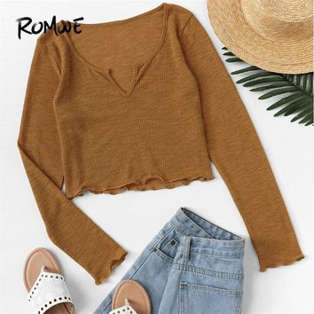 ROMWE Solid V Cut Neck Lettuce Trim Tee Shirt Femme 2018 Clothes Casual Women Tops Maroon Long Sleeve Crop Top Slim T Shirt