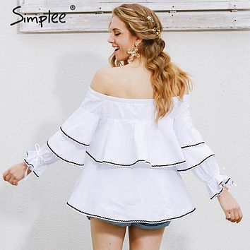 Simplee Casual long sleeve blouse shirt women tops Ruffle white blouse chemise Elastic cool blouse blusas cold shoulder tops