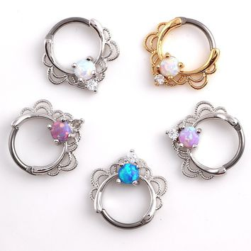 1PC Opal Nose Hoop Rings Surgical Steel Nose Clicker Septum Piercing Jewelry 16G*10MM