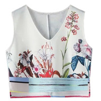 Floral Print V Neck Sleeveless Crop Top