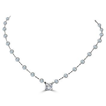 Diamond Veneer Centered 2.5 CT. (8x8mm) Asscher Cut on Zirconite by The Cubic Inch Necklace. BZBYX30SQ