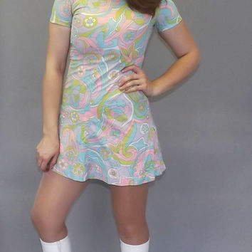 Tulip Baroo Vintage 1960s 70s Groovy Paisley Floral Mod Mini Shirt Dress GoGo Dancer Babydoll Dress Retro Size Small XS Twiggy Motown Kitsch