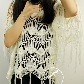 Free Shipping Ivory Hairpin Crochet Women Poncho Cape Blouse, Hippie Fringe Top, Summer Lace Beach Cover up