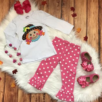 RTS Girly Scarecrow with Pink Polka Ruffle Pants...14.95