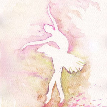 Art Watercolor Painting - Print my Original  Painting 8x11 Dance Ballet  Ballerina  Spring Home Decor Illustration  purple and olive green