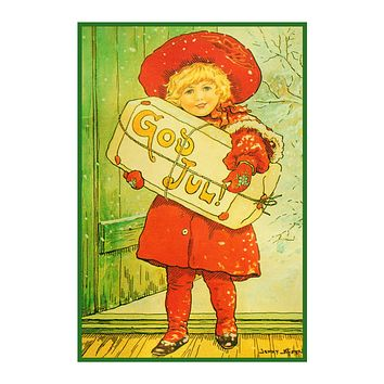 Girl With Christmas Present God Jul! Jenny Nystrom  Holiday Christmas Counted Cross Stitch Pattern