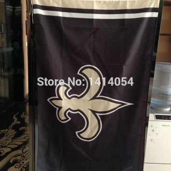 New Orleans Saints Column logo Flag 150X90CM Banner 100D Polyester3x5 FT flag brass grommets 001, free shipping