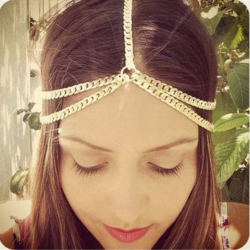 Punk Rock Women Gold Wave Tassel Curb Chain Head Hair Headband Headpiece Jewelry (Color: Gold)