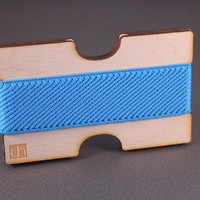 50% SALE!!! Mini Wallet, Credit Card Holder, Gift for him or her, PLYWOOD with BLUE elastic band