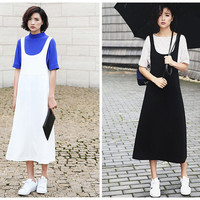 overall dress in white,black,jumper dress,suspender dress,overalls,long length,high waist,casual,preppy style,fashion,chic,for autumn--E0316