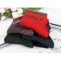 "Hot Sale ""GUCCI"" Popular Women Casual Bright Silk Letter Cotton Sport Socks - Boxed I13797-1"