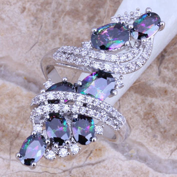 Shiny Rainbow Mystic White Topaz 925 Sterling Silver Overlay Ring For Women Size 5 / 6 / 7 / 8 / 9 / 10 / 11 / 12 S0218