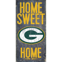 "Green Bay Packers Wood Sign - Home Sweet Home 6""x12"""