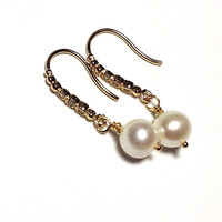 White pearl earrings / Preppy Dangle earrings /AAA Quality freshwater round white pearl/ Valentines day gift for her