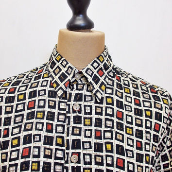 Vintage 80s Fashion Shirt Destijl Art collection Crazy Pattern Hip Hop Print XL