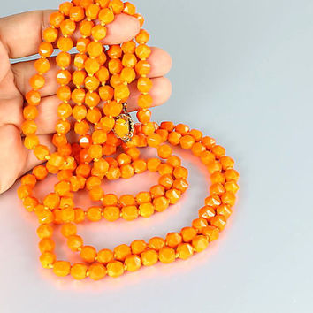 Orange glass Necklace, Art Deco Flapper, Hand Knotted Opera length, Extra long Czech jewelry