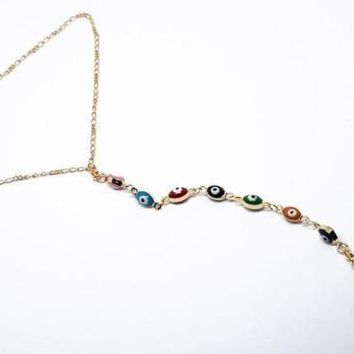 1-0125-f10 18kt Brazilian Gold Filled Evil Eye anklet with Wrap around Toe Extension. 9.25