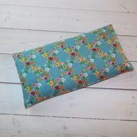 Aromatherapy Eye Pillow - Flax Seed & Lavender - Blue floral wreath - yoga