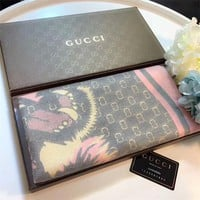 Best Online Sale Gucci Keep Warm Scarf Gold Thread Embroidery Scarves Winter Wool Shawl Style 1